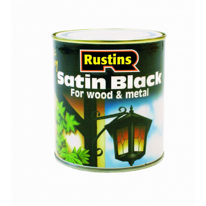 RUSTINS QUICK DRY SATIN BLACK PAINT 1L