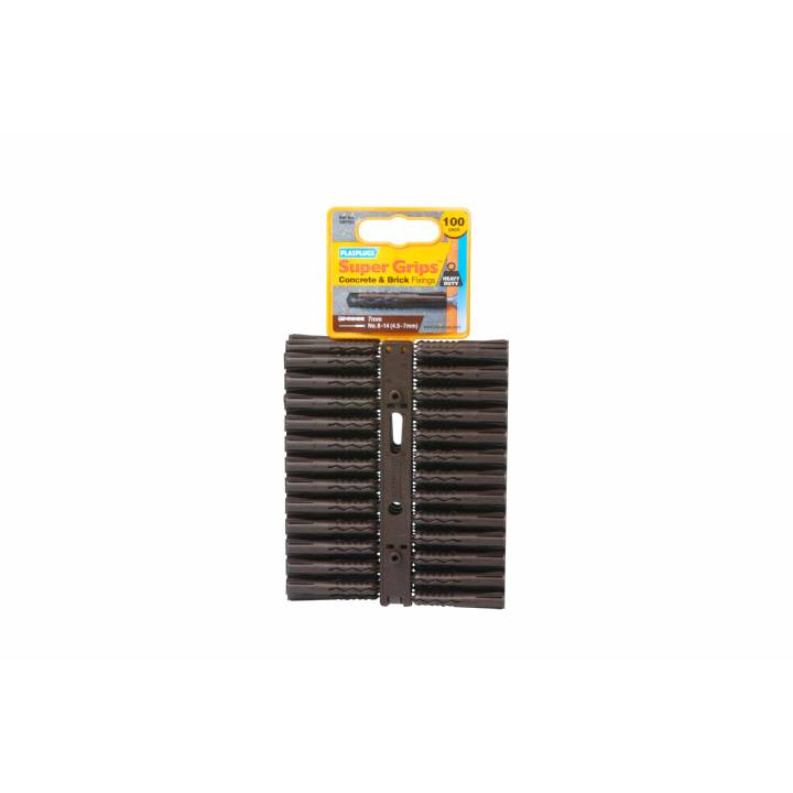 PLASPLUGS BROWN SUPERGRIP PLUGS (100 PACK)