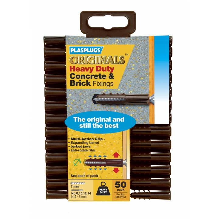 PLASPLUGS ORIGINALS HEAVY DUTY CONCRETE & BRICK FIXINGS (50 PACK)