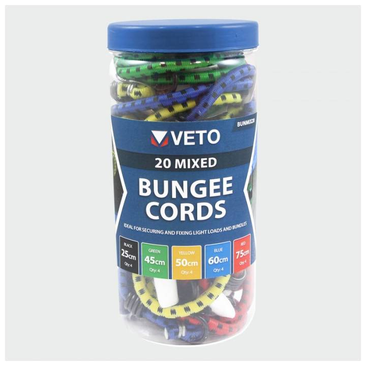 VETO BUNGEE CORDS ASSORTED 20 PK